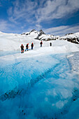 Hikers Trekking In Ice Gear Atop Mendenhall Glacier Juneau Tongass National Forest Se Alaska Summer