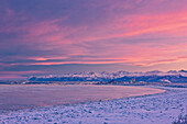 Panorama View Of The Anchorage Skyline Just Before Dawn As Seen From Earthquake Park During Winter, Southcentral Alaska