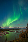 Northern Lights Above Mount Mckinley And The Chulitna River During A Full Moon, Seen From The Parks Highway Overlook, Denali State Park, Alaska, Autumn