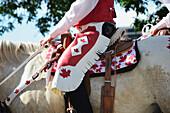 'Horseback Rider In Calgary Stampede Parade;Calgary Alberta Canada'