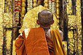 'India, Bihar, Thai Monk Prays At Mahabodhi Temple Where Buddha Attained Enlightenment Under Bodhi Tree; Bodhgaya'