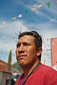 'Mexico, Man Wearing Ceremonial Crown Of Thorns; Guanajuato'