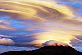 'Ecuador, Clouds At Sunrise Over Cotacachi Volcano; Imbabura'