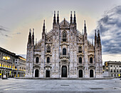 'Italy, View Of Milan Cathedral In Piazza Del Duomo At Sunrise; Milan'