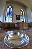 'Uk, Scotland, Scottish Borders, Silver Metal Bowl In Church Interior; Yetholm'