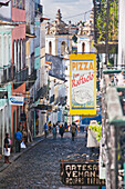 'Brazil, Bahia, Pedestrians And Buildings In Old City Centre; Salvador'