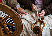 'Scotland, Highlands, Learning To Weave On Loom; Applecross Peninsula'