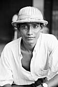 'Burma, Man With Ghurkha Hat; Rangoon'