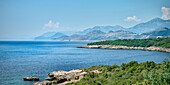 View along the coast to Stari Bar, old town of Bar, Adriatic coastline, Montenegro, Western Balkan, Europe