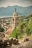 Church near the trail to the fortifications of the bay of Kotor, view of the old town, Adriatic coastline, Montenegro, Western Balkan, Europe, UNESCO