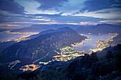 Panoramic view of Kotor and bay of Kotor at night, Adriatic coastline, Montenegro, Western Balkan, Europe, UNESCO