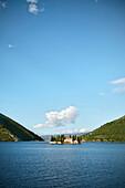 View of Island of St. George with Benedictine Monastry, Perast, Bay of Kotor, Adriatic coastline, Montenegro, Western Balkan, Europe, UNESCO
