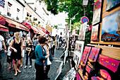 Tourist on Place du Tertre, Paris, France