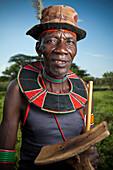 Portrait of traditionally dressed man from Pokot tribe, Lake Baringo, Rift Valley, Kenya