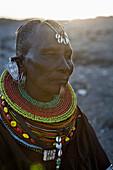 Portrait of traditionally dressed Turkana woman, Loyangalani, Kenya