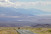 USA, Nevada border, California, Route 374, Death Valley National Park, Highway 374, Young woman standing on deserted road in desert