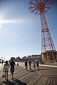 USA, New York State, Rockaway, Iconic red fairground tower, Coney Island