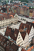 Poland, View from spire of St. Elizabeth's Church onto Market Square, Wroclaw