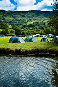 Tents at Llyn Gwynant Campsite, Nant Ggwynant, Snowdonia National Park, North Wales, Wales, UK