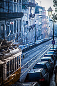 Classic old tram on street, Alfama, Lisbon, Portugal