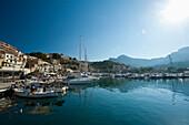 Looking across harbor of Port Soller, Majorca, Spain