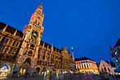 Rathaus on Marienplatz at dusk, Munich, Bavaria, Germany