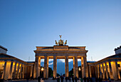 Brandenburg Gate at dusk, Berlin, Germany