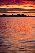 Sunset during late summer on west coast, Greenland