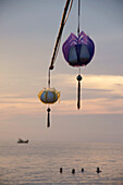 Traditional lanterns hanging above sea, Phu Quoc island, Vietnam