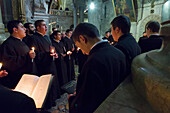 Armenian daily procession in Church of Holy Sepulchre, Old City, Jerusalem, Israel