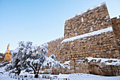 January 10, 2013, Old City walls and Tower of David under snow, Jerusalem, Israel
