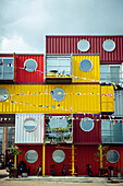 Dosfotos, nobody, Outdoors, Day, Office Block, Building Exterior, Architecture, Built Structure, Modern, London, Trinity Buoy Wharf, UK, Container, Recycled Material, Nobody, Open Air, Outside, Exterior, Exteriors, Greater London, Color Image, Photography
