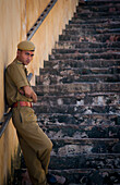 Alex, Adams, Outdoors, Day, Portrait, Looking At Camera, Full Length, Standing, Military Uniform, Young Men, One Person, Building Exterior, Architecture, Travel Destinations, Traditional Culture, Travel, Service, Solitude, Tranquility, India, Uttar Prades