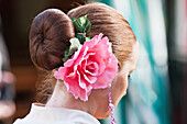 Paul, Quayle, Outdoors, Day, Close-Up, Focus On Foreground, Brown Hair, Unrecognizable Person, Real People, Traditional Clothing, Celebration, April Fearia Festival, Seville, Europe, Spain, Andalucia, Tradition, Rose, Hair Bun, Earring, Responsibility, He