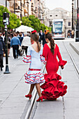 Paul, Quayle, Outdoors, Day, Walking, Dress, Long Hair, Ponytail, Unrecognizable Person, Incidental People, Young Women, Two People, Street, Real People, Traditional Clothing, Celebration, Elegance, Inspiration, Passion, Red, White, Cable Car, Tradition,
