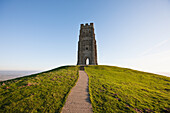 Paul, Quayle, nobody, Outdoors, Day, Low Angle View, Copy Space, Sunlight, Architecture, Hill, Clear Sky, Tower, Majestic, Safety, Security, Strength, Steps, Stone, Facade, Old, Weathered, Grass, Glastonbury, Somerset, England, Green Color, British Cultur