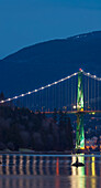 Lions Gate Bridge At Night, Vancouver, British Columbia, Canada