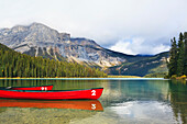 Emerald Lake And Mount Burgess, Yoho National Park, British Columbia, Canada.