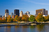 City Skyline Taken From Bassin Bonsecours In Autumn, Montreal Quebec Canada