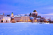 Saint-Denis Street And Chateau Frontenac At Dawn In Winter, Quebec City Quebec Canada
