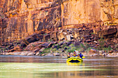 Arizona, Grand Canyon National Park, Friends rafting on the Colorado River, Calm water. EDITORIAL USE ONLY.