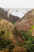 Northern California, Big Sur, View of Bixby Bridge along the coast.