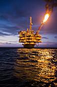 Flame coming off perdido oil rig in gulf of mexico, Corpus christi texas usa
