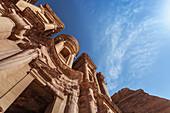 Low angle view of Ad Deir facade, Petra, Jordan