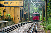 Corcovado Rack Train going to Christ the Redeemer Statue, Cosme Velho Neighbourhood, Rio de Janeiro, Brazil