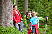 family, parents, kid, boy, 7 years old, wander, wood, break, Styria, Austria