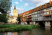 Kraemerbruecke with half-timbered buildings, Erfurt, Thuringia, Germany