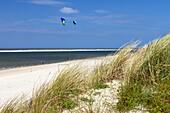 Dunes and kites on the beach, Langeoog Island, North Sea, East Frisian Islands, East Frisia, Lower Saxony, Germany, Europe