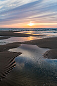 Beach at sunset, Juist Island, Nationalpark, North Sea, East Frisian Islands, National Park, Unesco World Heritage Site, East Frisia, Lower Saxony, Germany, Europe