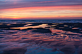 Beach at sunset, mudflats, Juist Island, Nationalpark, North Sea, East Frisian Islands, National Park, Unesco World Heritage Site, East Frisia, Lower Saxony, Germany, Europe
